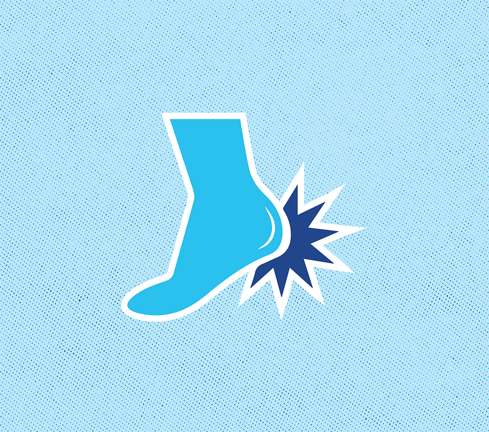 icon of a foot with a pain indicator by the heel